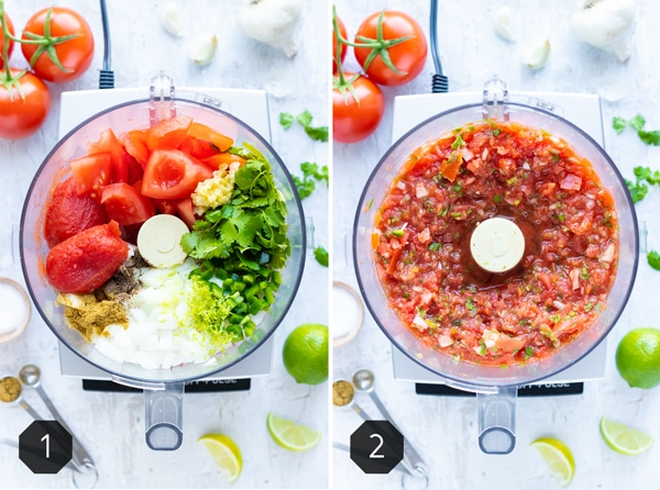 Before and after photo demonstrating how to make salsa in a food processor.