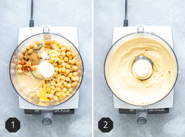 One picture with hummus ingredients in a food processor and another picture with it blended up demonstrating how to make homemade hummus.