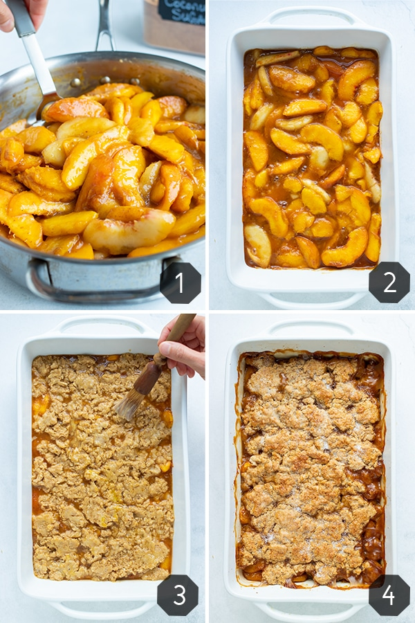 Instructional pictures for making a gluten-free peach cobbler by cooking peaches in cinnamon sugar, laying in a 9x13 pan, and covering with flakey topping and baking.