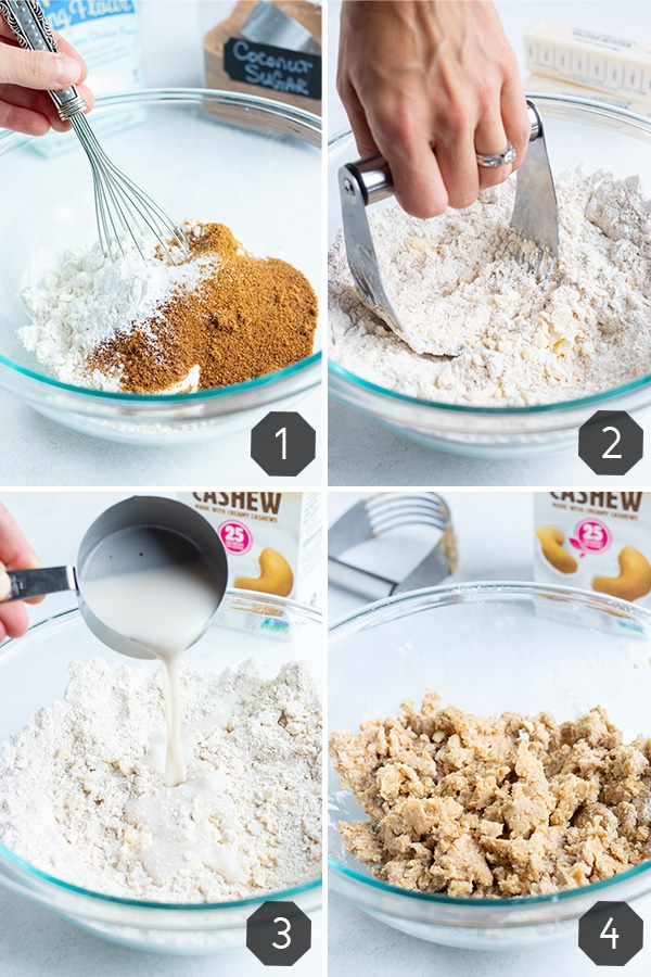 Step by step pictures for making a buttery, flakey, cake-like biscuit topping for a healthy cobbler dessert.