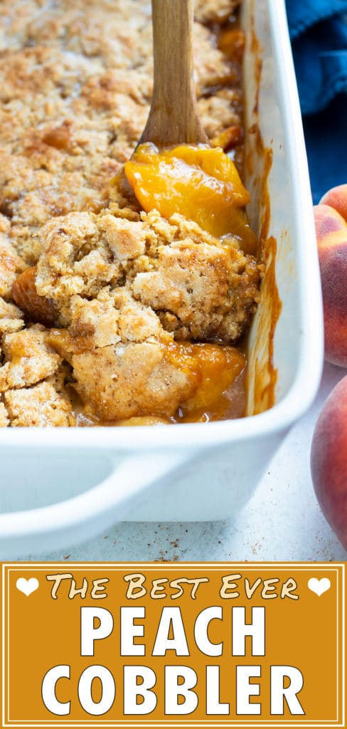 A 9x13 pan of peach cobbler is set on the counter with a few whole peaches set around it in preparation for serving.