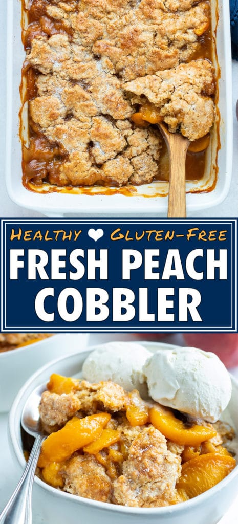 Tender peaches and a buttery topping are being served out of a baking dish for a southern peach cobbler dessert.