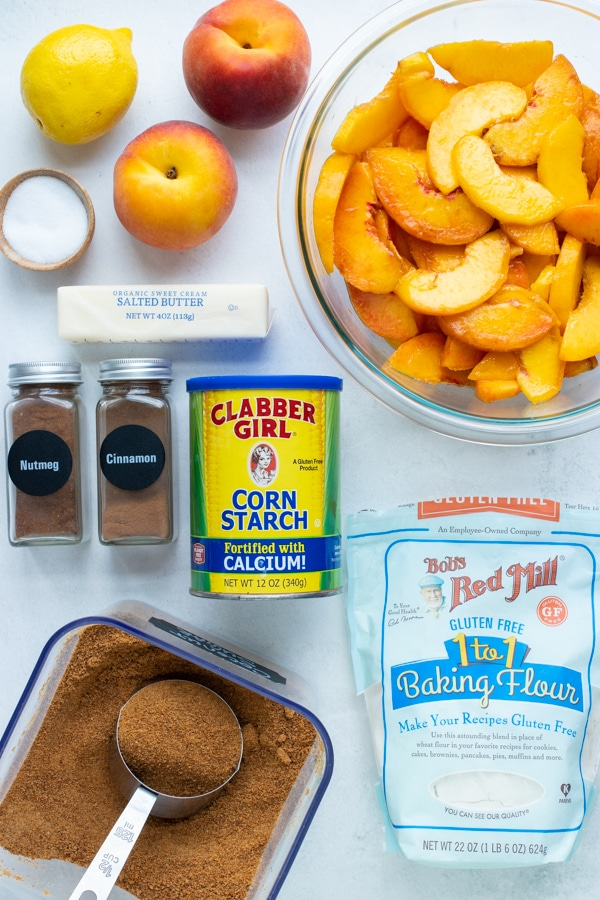 Fresh sliced peaches, cinnamon, brown sugar, butter, a gluten-free flour blend, and other ingredients come together in this Southern Peach Cobbler.