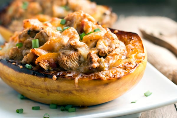 Chicken Fajita Spaghetti Squash Bowls that are full of yummy Mexican-flavored chicken and tons of veggies!  They are a great healthy, gluten-free dinner option when you are craving Mexican food.