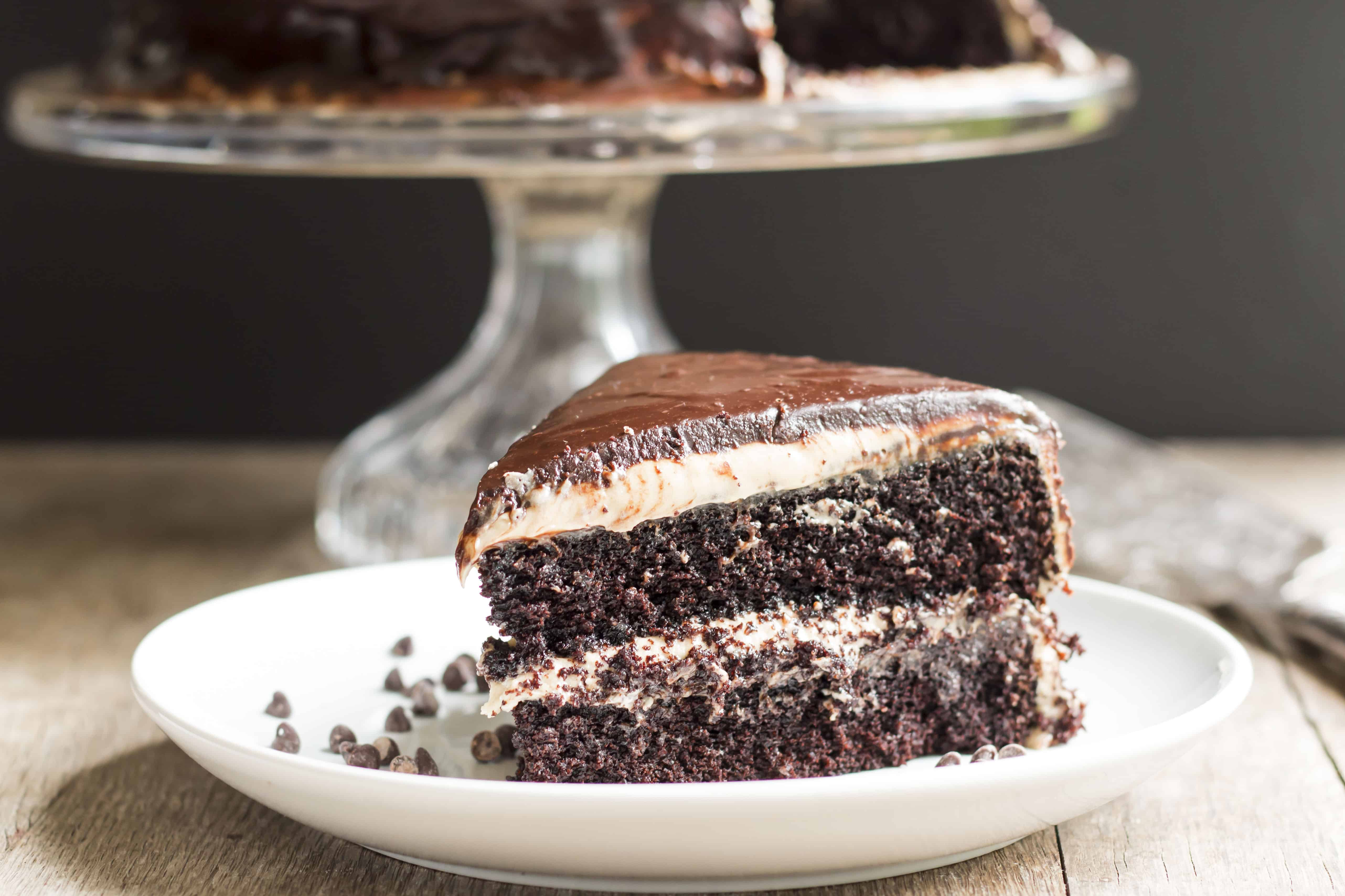 Dark Chocolate and Peanut Butter Midnight Cake | Gluten Free with L.B.