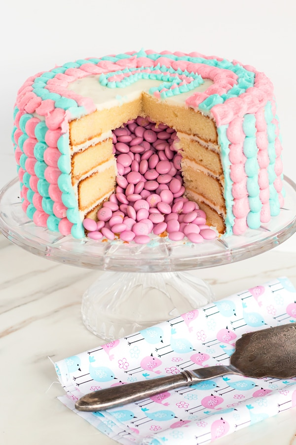 Gender Reveal Cake with M&M's Inside