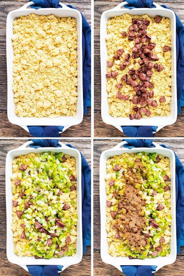 Four step-by-step images that show how to make cornbread dressing.