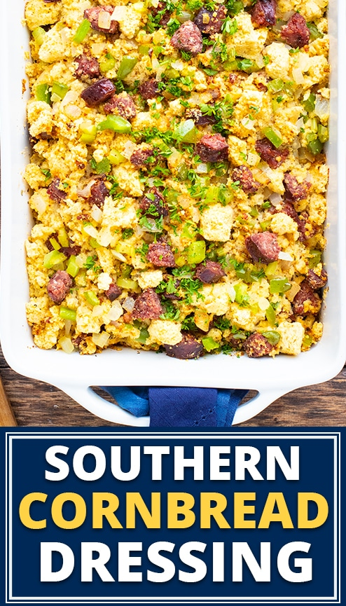 A baking dish full of Southern cornbread dressing recipe.