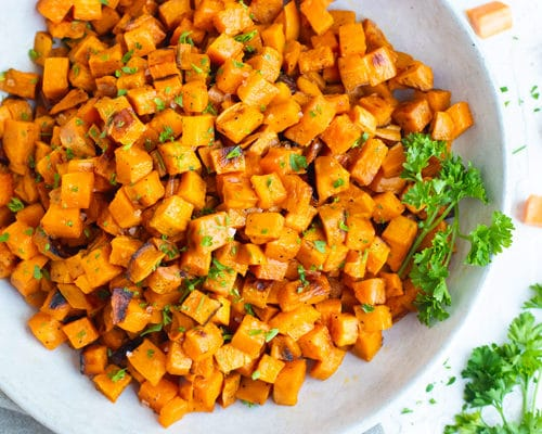 Roasted Sweet Potato Cubes Perfeclty Crisp Every Time Evolving Table