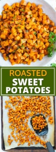 Easy Oven Roasted Sweet Potato Cubes | Roasted sweet potato cubes are a quick, easy, and healthy way to make sweet potatoes in the oven!  This roasted sweet potatoes recipe makes perfectly crispy cubes every time and is a gluten-free, dairy-free, vegan, vegetarian, and Whole30 side dish.
