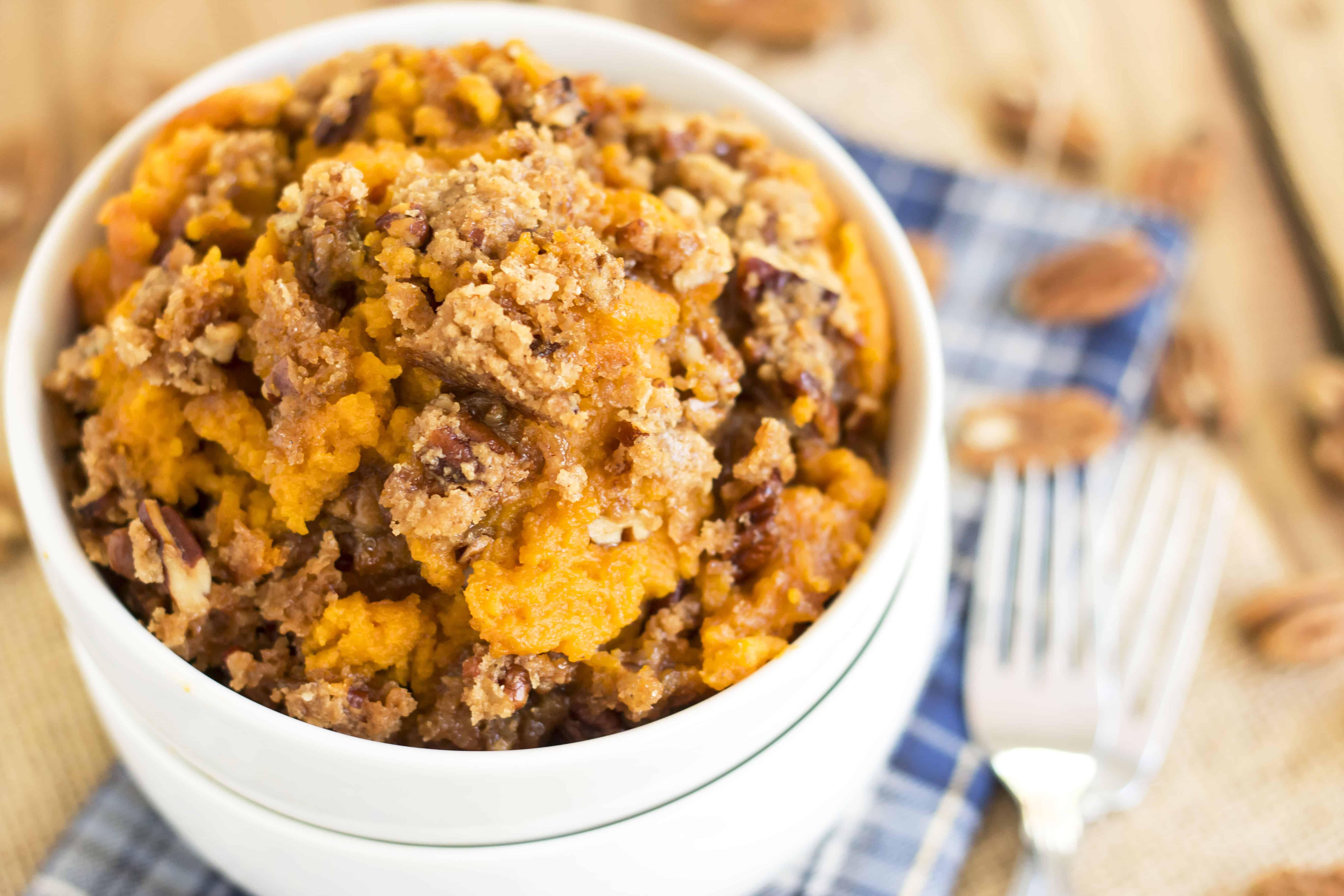 Pecan Crisp Sweet Potato Casserole | Gluten Free with L.B.