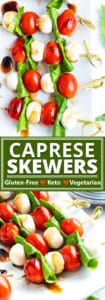 Caprese Skewers with balsamic glaze are an easy, make-ahead holiday appetizer recipe the whole crowd will enjoy! Simply layer up mozzarella pearls, cherry tomatoes, and fresh basil leaves onto a few wooden skewers for an elegant and tasty gluten-free, low-carb, vegetarian, and keto caprese salad snack!