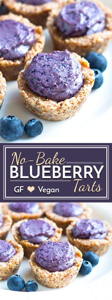 These No-Bake Healthy Blueberry Tarts are naturally sweetened, gluten-free, dairy-free and can easily be made vegan!! These sweet treats are a wonderful addition to your Spring and Summer dessert table.