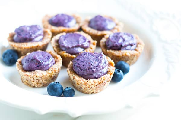 A collection of individual treats on a plate using a blueberry tart recipe.