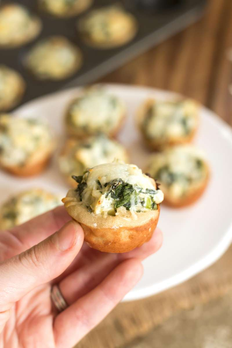 Spinach Artichoke Dip Bites | A gluten free appetizer recipe for spinach and artichoke dip tarts.