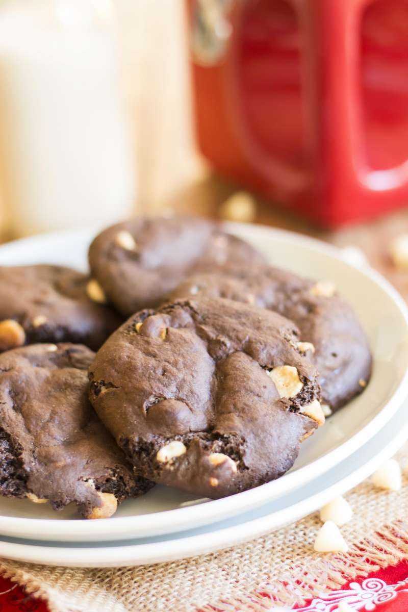 Gooey Double Chocolate Cookies | A gluten free chocolate cookie recipe filled with white chocolate chips.