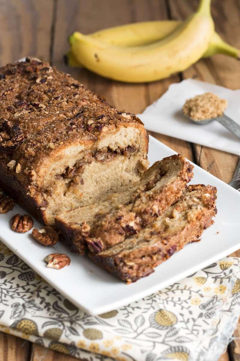 Cinnamon Swirl Banana Nut Bread | A gluten free banana nut bread recipe that is full of cinnamon and sugar.
