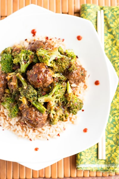 Beef Meatballs and Broccoli | A gluten free Asian dinner recipe makeover for the traditional Beef & Broccoli.