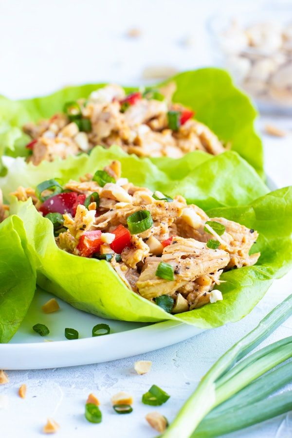 Chicken Lettuce wraps in Bibb lettuce leaves on a white plate next to green onions.