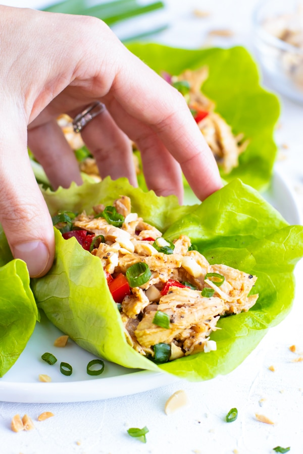 A hand picking up a healthy lettuce wrap that is full of shredded chicken and an Asian sauce.