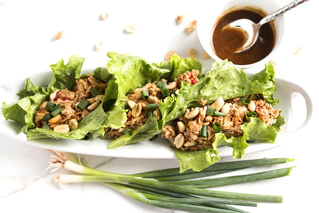 Peanut Asian Chicken Lettuce Wraps | Gluten Free with L.B.