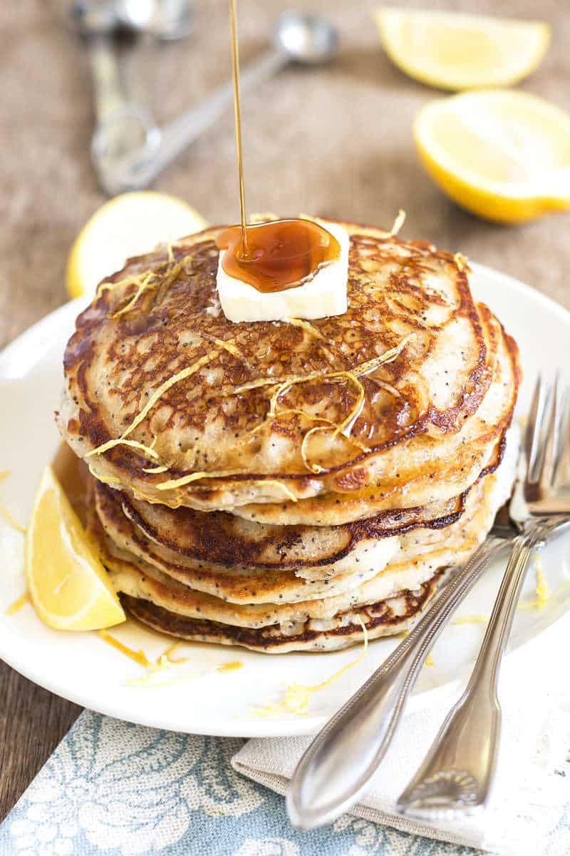 Bisquick Lemon Poppy Seed Pancakes | A gluten free pancake recipe full of fresh lemon and poppy seeds--made with Bisquick!