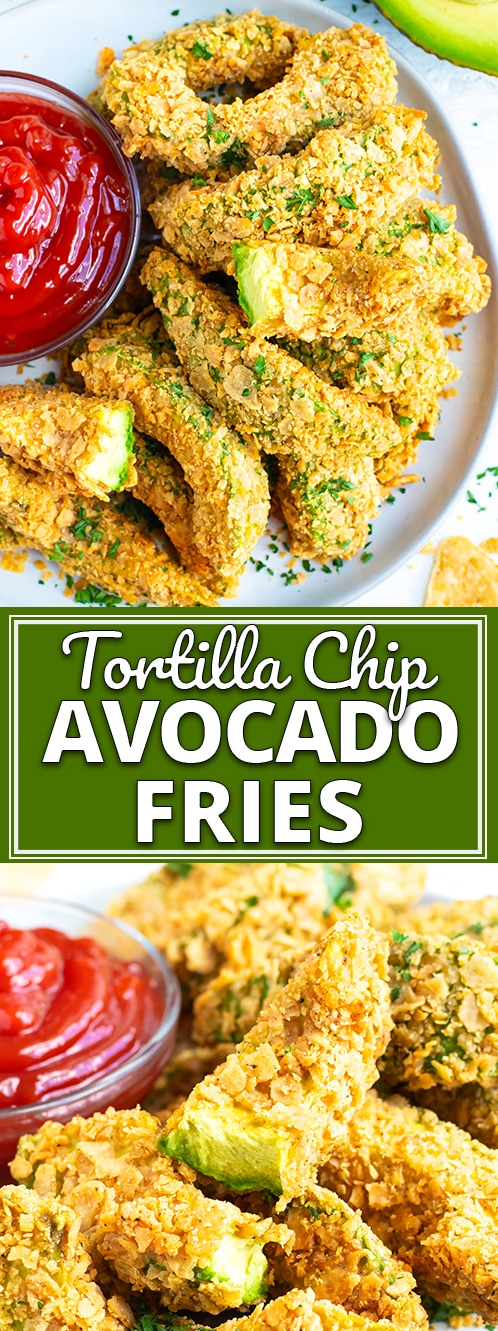 Healthy Baked Avocado Fries | Learn how to make Avocado Fries that are coated in a delightful tortilla chip crust and then baked in the oven for a healthy, gluten-free and dairy-free side dish or appetizer!  This avocado fries recipe will give you a perfectly crispy coating and a soft avocado-filled center. #evolvingtable #avocado #fries #glutenfree
