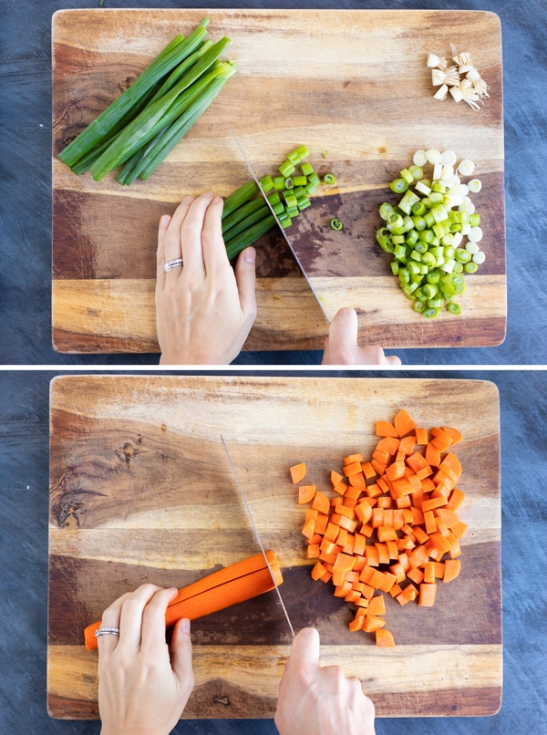 Two images showing how to dice carrots and finely chop the white and green parts of a green onion.