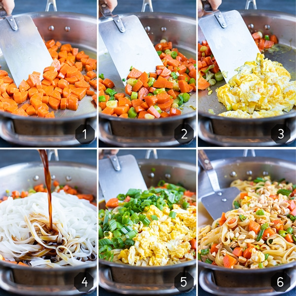 Step-by-step photos showing how to make Pad Thai at home.