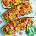 Mexican Taco Stuffed Zucchini Boats | Healthy, Low-Carb, Baked Zucchini Recipe