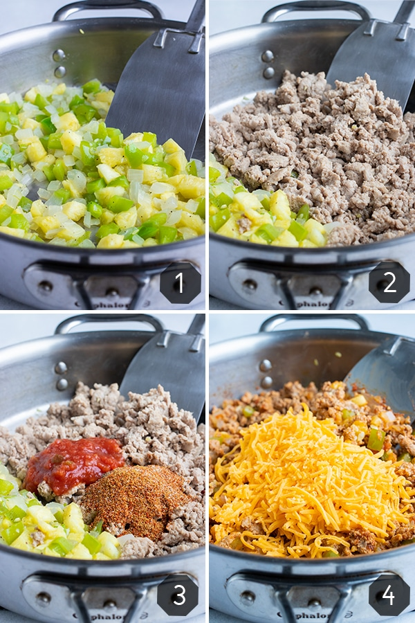 Step-by-step photos showing how to cook a Mexican taco filling for a stuffed zucchini boat recipe.