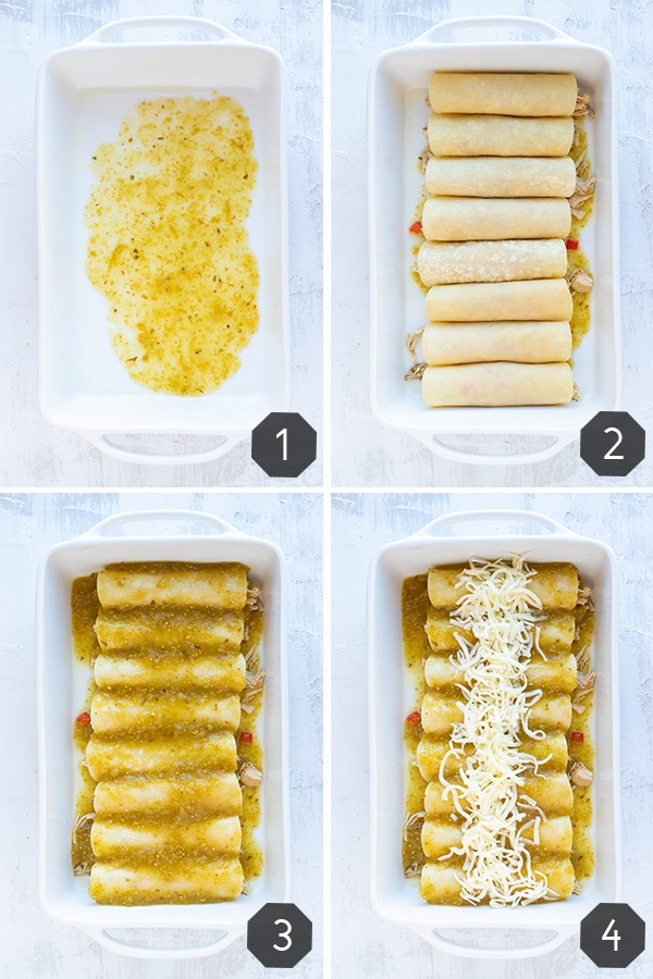 A collage of four photos showing the steps for how to make enchiladas.