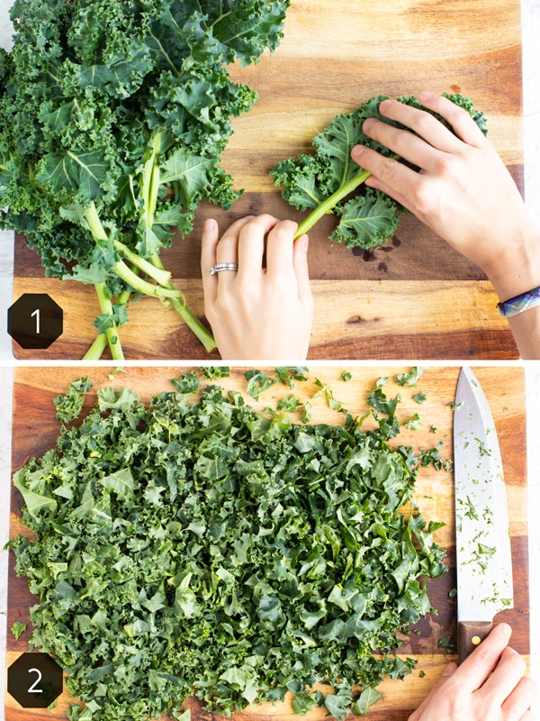 Removing the stems from kale leaves and finely chopping it on a wooden cutting board.