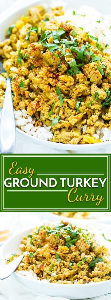 A ground turkey curry dish that is healthy, low-sugar, gluten-free and full of easy to find Indian spices. It makes a super easy lunch or dinner healthy dinner recipe.