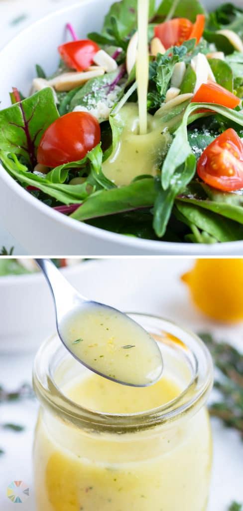 Lemon Vinaigrette is poured onto a healthy green salad.
