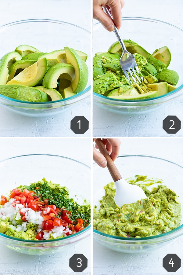 Multiple images demonstrating how to mash avocados and how to make guacamole dip.
