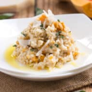 Butternut Squash Sage Risotto | A Fall or Autumn risotto recipe that is gluten free and full of butternut squash, sage and Parmesan cheese.