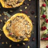 Autumn Acorn Squash | A satisfying Fall or Autumn dinner recipe for stuffed acorn squash.