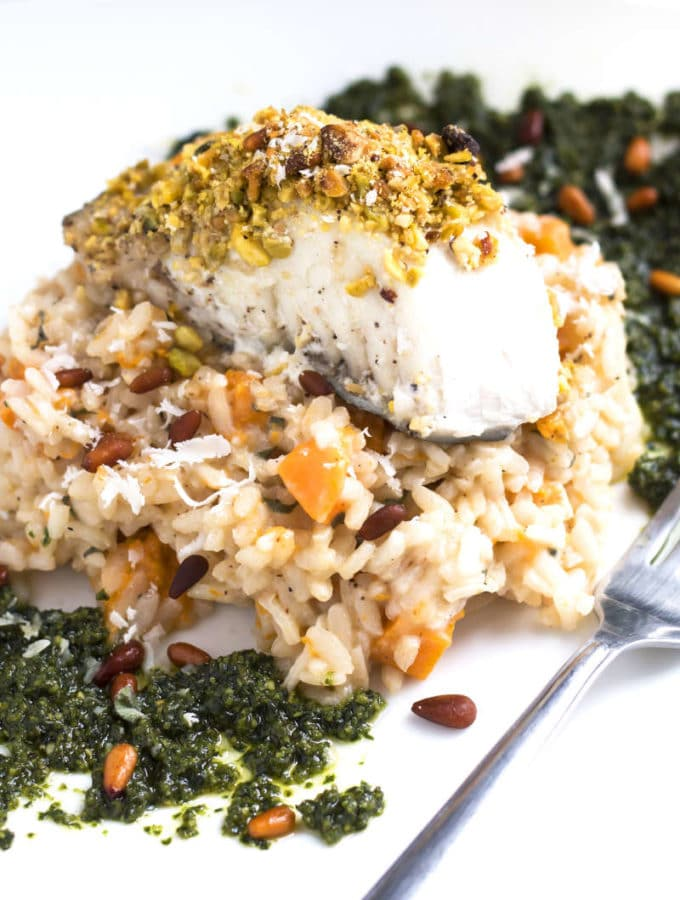 Pistachio Crusted Halibut | An elegant seafood dinner recipe for white fish that is coated in a gluten free pistachio crust.