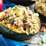 Ground turkey stuffed acorn squash with pecans, sage, pumpkin seeds, and apple.