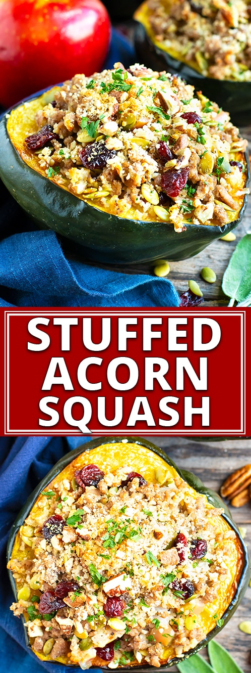 Stuffed acorn squash is an elegant and easy gluten-free recipe that is full of cranberries, pecans, apples and ground turkey.  This healthy stuffed acorn squash recipe is perfect for Fall & Winter dinners or get-togethers!