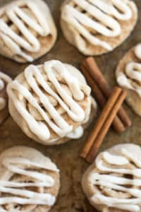 Cinnamon Roll Cookies | A gluten free cookie recipe that is full of cinnamon, rolled up like a cinnamon roll and topped with a cream cheese glaze.