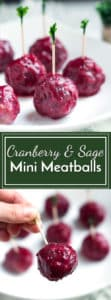 Sage & Cranberry Mini Meatballs | Sage and cranberry mini meatballs are the perfect gluten free appetizer for your Christmas, New Year's Eve or holiday party!