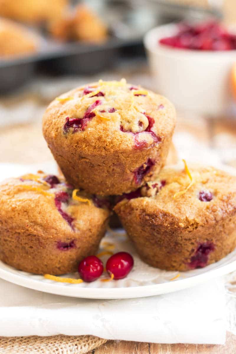 Healthier Cranberry Orange Muffins | A gluten free, healthy breakfast muffin recipe that is full of fresh cranberries and orange juice and zest. Makes a wonderful snack or dessert, too!