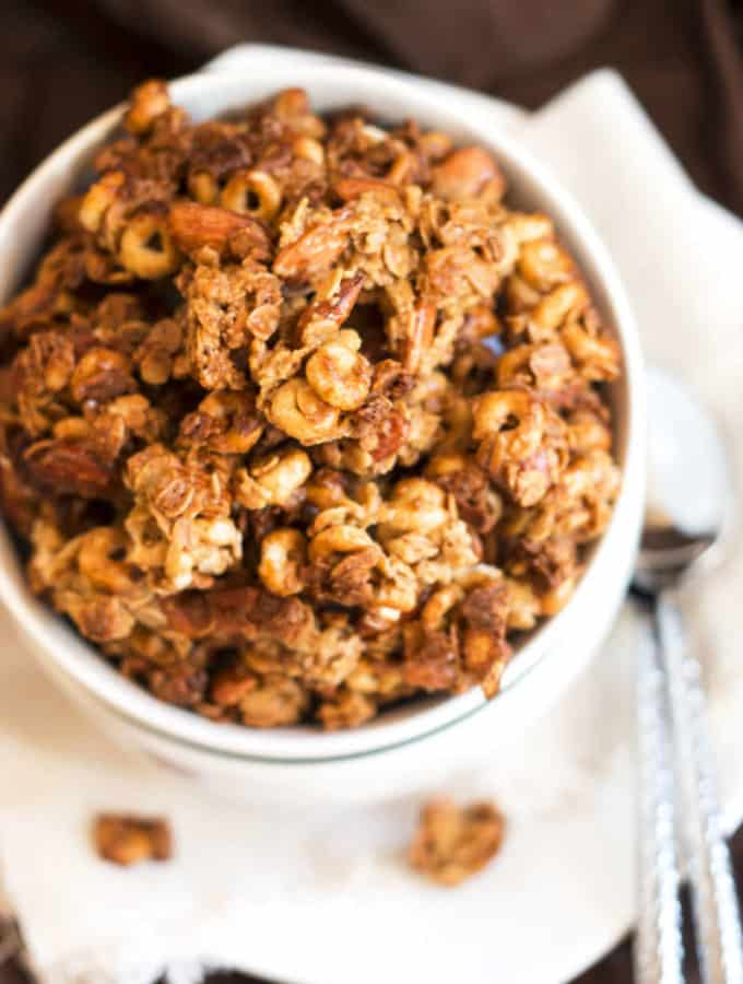 Peanut Butter Cheerio Granola | A gluten free recipe for peanut butter granola that is made with Cheerios!