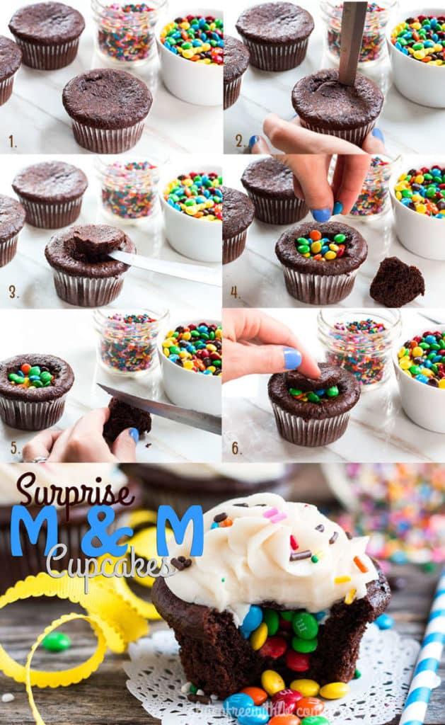 Surprise M&M Cupcakes | A gluten free cupcake recipe.