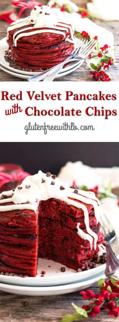 Red Velvet Pancakes with Chocolate Chips {Video} | Gluten Free with L.B.