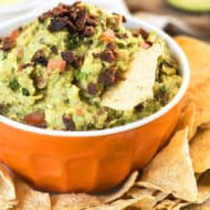 Super Bowl of Guacamole {Video} | Guacamole that is loaded with bacon and makes a wonderful gluten free appetizer or snack!