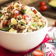 Avocado BLT Quinoa Salad with Ranch Dressing | A lunch or dinner recipe for quinoa salad that is loaded with bacon, spinach, tomato and avocado!