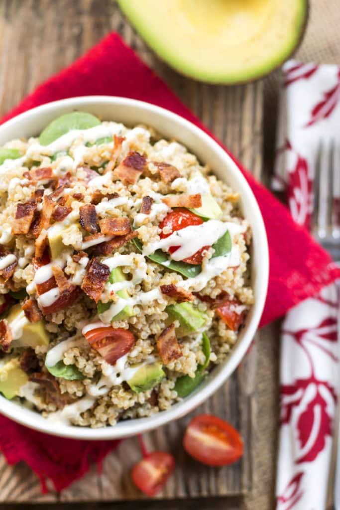 Avocado BLT Quinoa Salad with Ranch Dressing